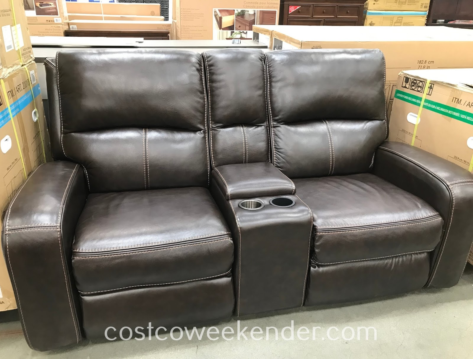 Kick back to watch a movie in the comfort of the Sawyer Leather Power Reclining Loveseat