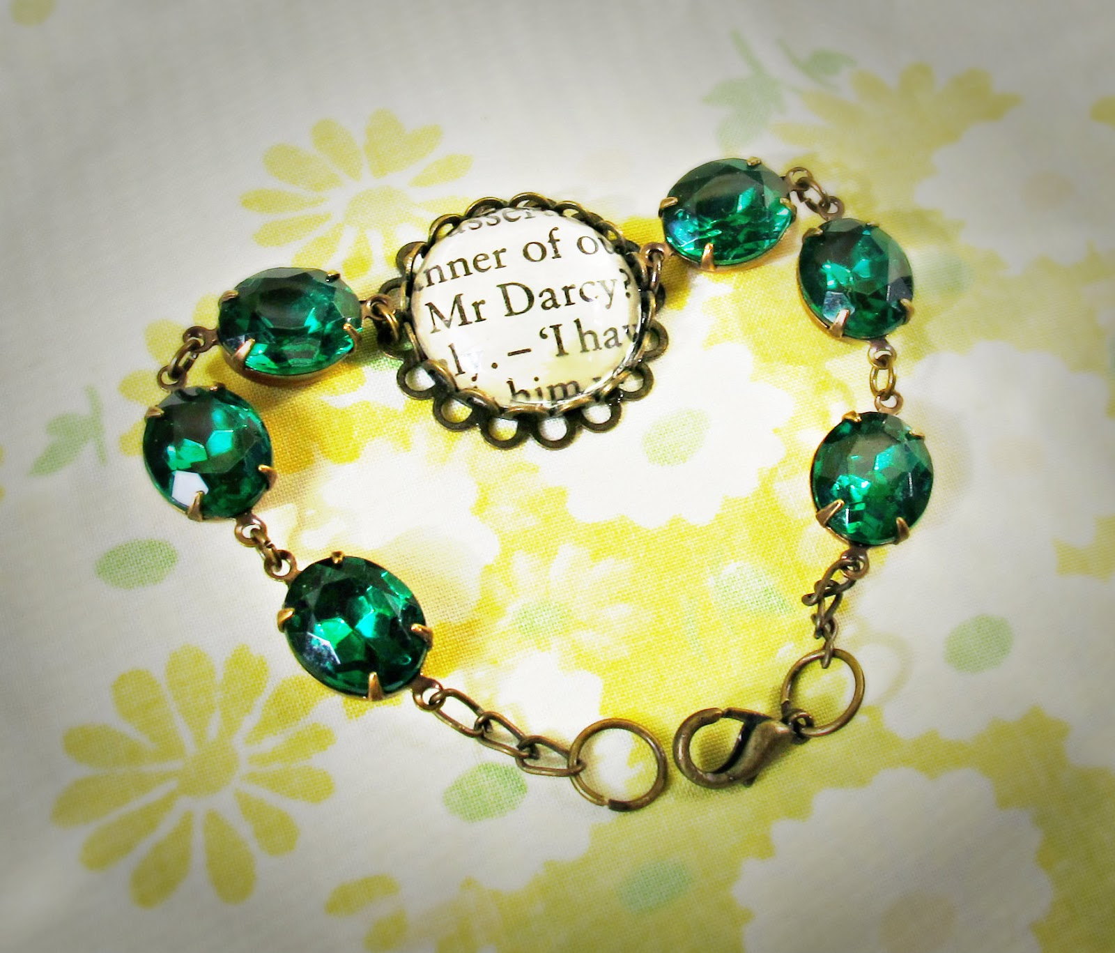 image mr darcy emerald bracelet vintage glass stone pride and prejudice jane austen upcycled book text pantone