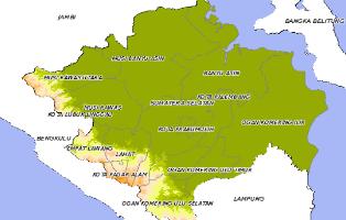 Peta Daerah Kota / Kabupaten di Prov.Sumatera Selatan (SUMSEL) Indonesia