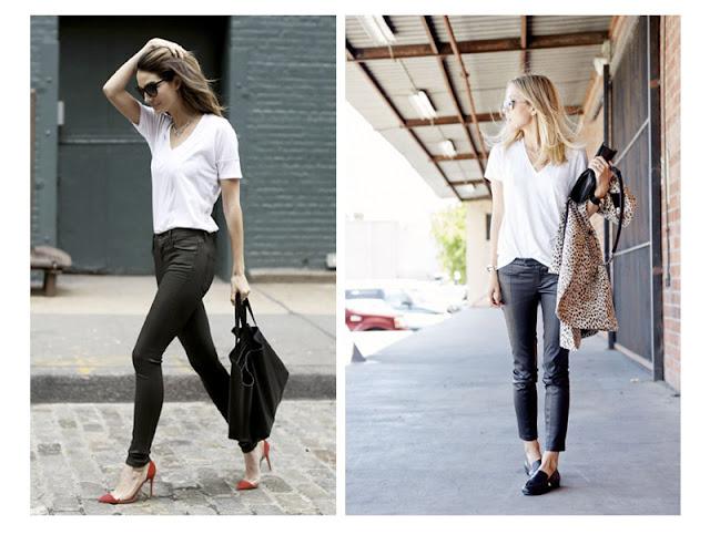 Кожаные брюки с белой футболкой уличная мода