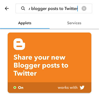 Share Blogger posts to Twitter IFTTT applet