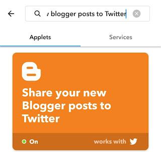 Share Blogger posts to Twitter IFTTT applet