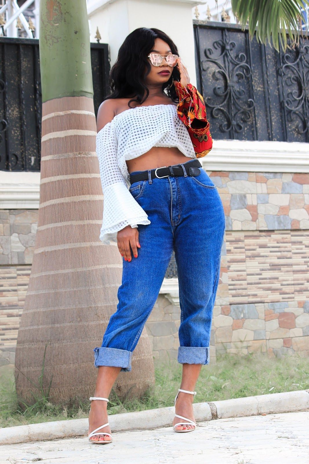 ANKARA CROP TOP - Ankara Crop Top from House of Nessa with Vintage Mom Jeans