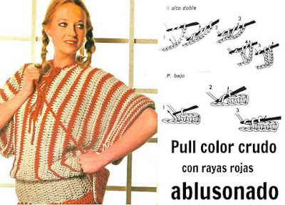 Pull ablusonado color crudo con rayas rojas a ganchillo