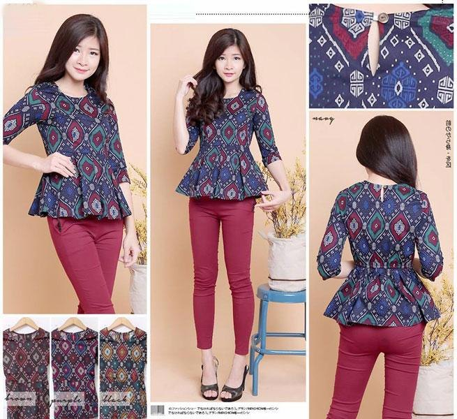 Jual Baju Batik Batik Peplum Blouse Tania - 13499