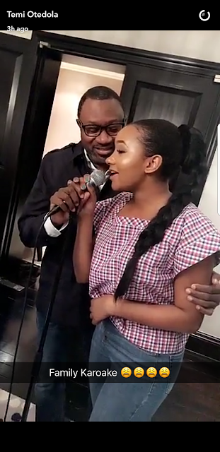 Photos:  Temi Otedola sings karaoke with her billionaire dad, Femi Otetola