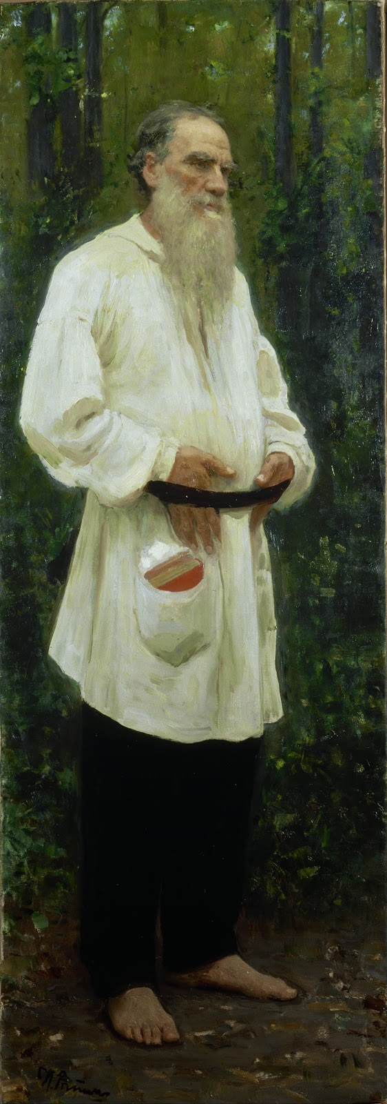Russian author Leo Tolstoy in traditional peasant clothing