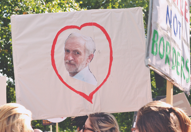 Jeremy Corbyn banner at London Refugee march
