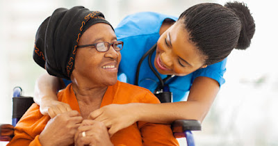 African American caregiver with patient