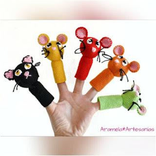 patron amigurumi Títeres de dedo aramela artesanías