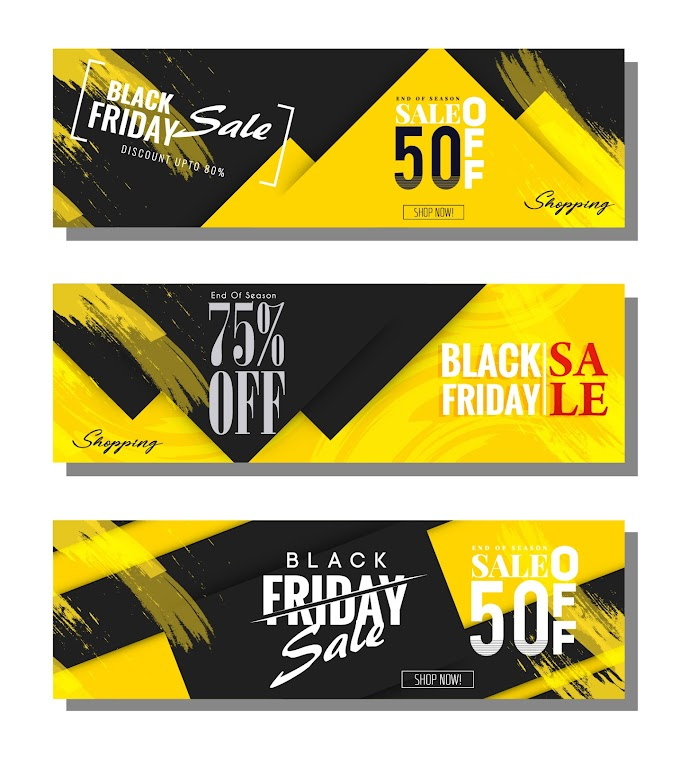 Black friday banners modern black yellow abstract decor Free vector