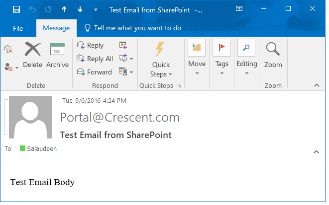 how to test sharepoint outgoing email