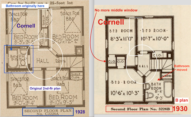 second floor comparison plans A and B Sears Cornell