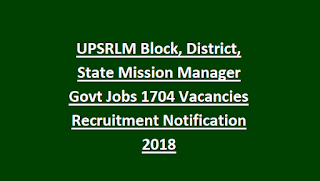 UPSRLM Block, District, State Mission Manager Govt Jobs 1704 Vacancies Recruitment Notification 2018