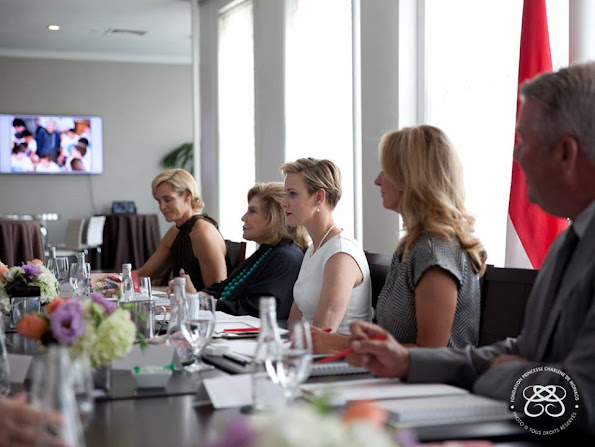Princess Charlene of Monaco attended the meeting of the her foundation. Princess Charlene Wore Roland Mouret Darlington
