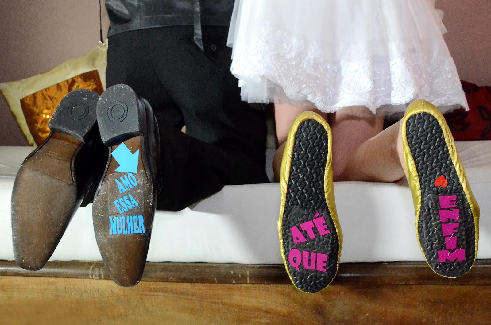 festa - recepção - sapato noivo - sapato noiva - frases no sapato