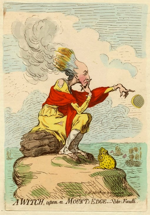 A witch, upon a mount's edge. - Vide: Fuzelli  by James Gillray Pub Hannah Humphrey (1791)  © British Museum