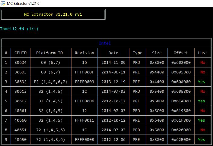 MCExtractor - Intel, AMD, VIA & Freescale Microcode