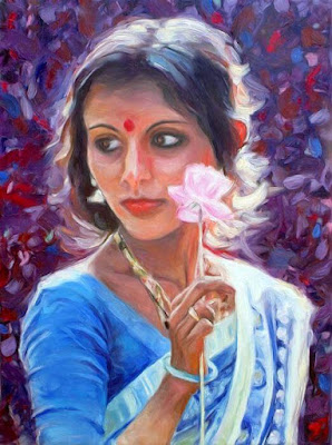 Beautiful Painting Of Indian Girl With Paper Flower By Famous Artist Peter Kupcik.