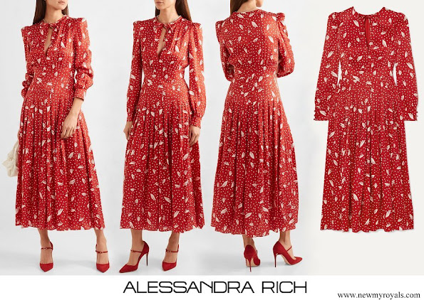 Kate Middleton wore Alessandra Rich silk jacquard midi dress