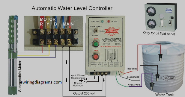 Automatic Water Level Controller Circuit Diagram For Submersible Pump