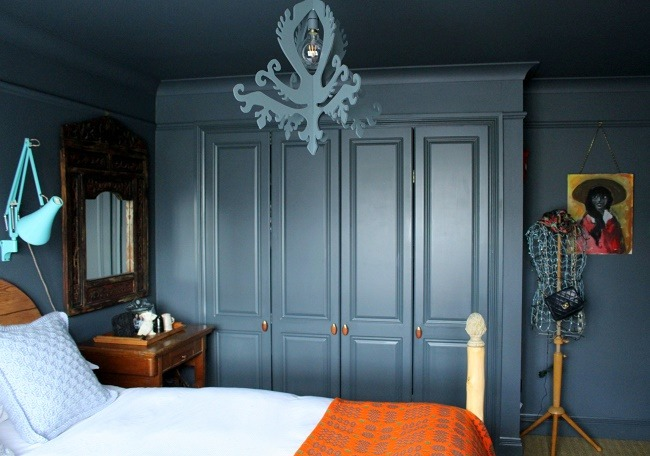 lazy daisy jones Bedroom redecoration in a shade of grey with handmade bed