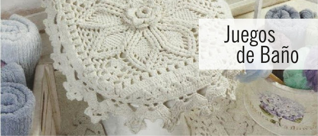 Colecci n juegos de ba o a crochet ctejidas crochet y for Precio de juego de bano