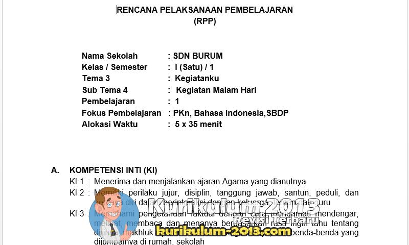 Download Contoh RPP Kurikulum 2013 Kelas 1 SD Terbaru - Contoh RPP K13 SD