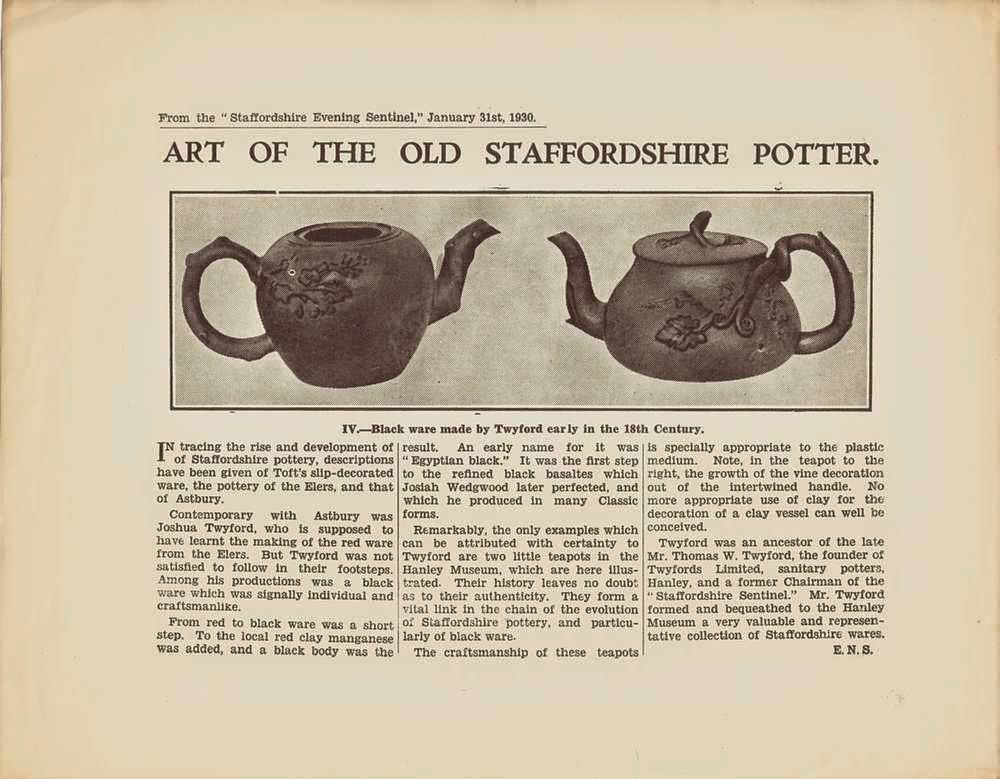 Twyfords Art of the Old Staffordshire Potter from Staffordshire Evening Sentinel 1930