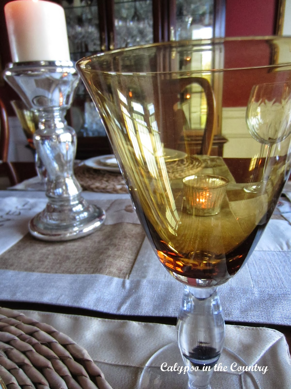 Amber Wine Glass - A Fall Table Setting