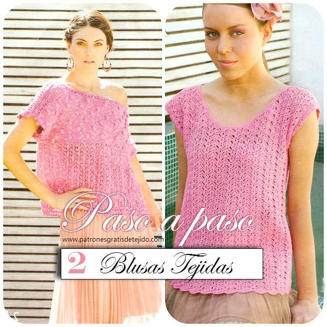 blusas a crochet y dos agujas tutoriales