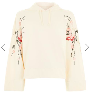 Topshop; Hoodie; Embroidered; Bell Sleeve