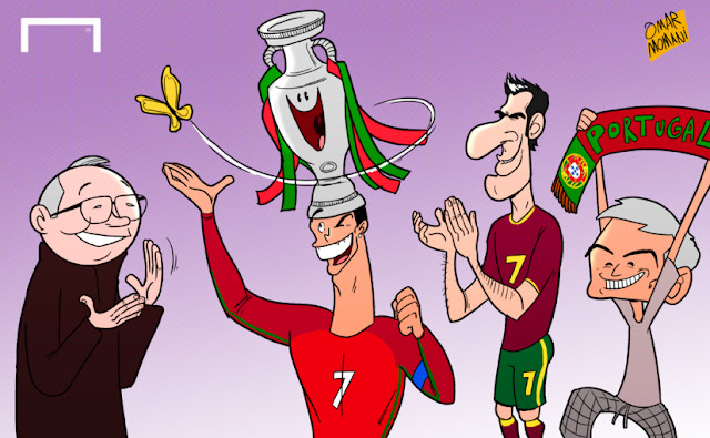 Ferguson, Cristiano Ronaldo, Figo and Mourinho celebrating the Euro Cup cartoon
