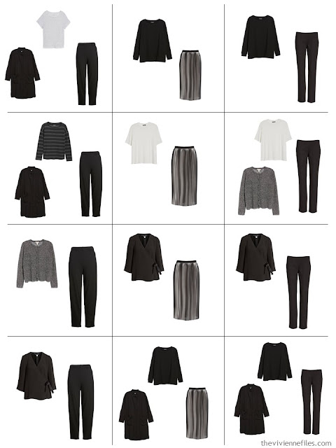 a dozen black and white outfits from A Common Wardrobe in black and white