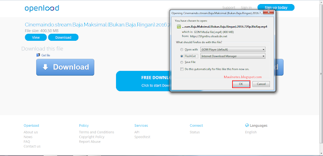 Cara Mudah Download File di OPENLOAD - Maulnotes.blogspot.com