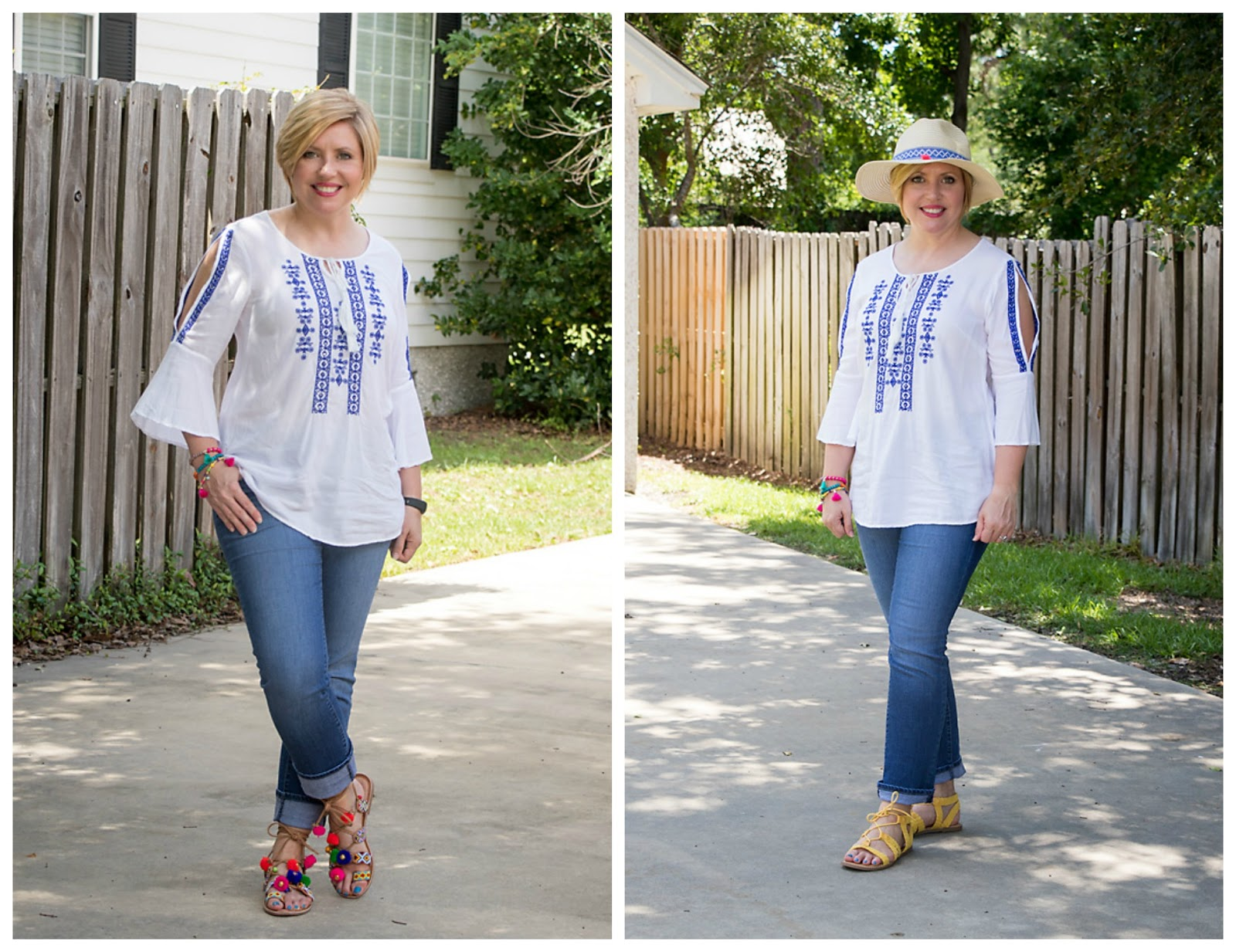 Embroidered top and jeans two ways