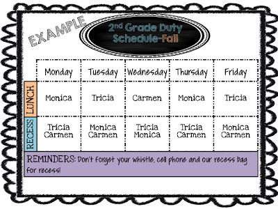 Mrs megown 39 s second grade safari editable lunch and for Duty schedule template