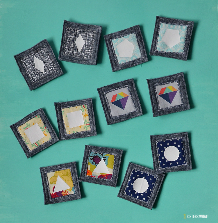 fabric shapes memory game using heat transfer vinyl and fabric