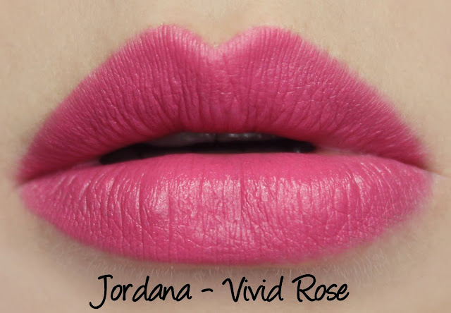 Jordana Vivid Rose lipstick swatches & review