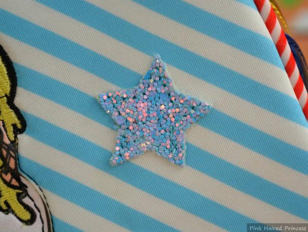 irregular choice whoa bag glitter star applique to front of bag