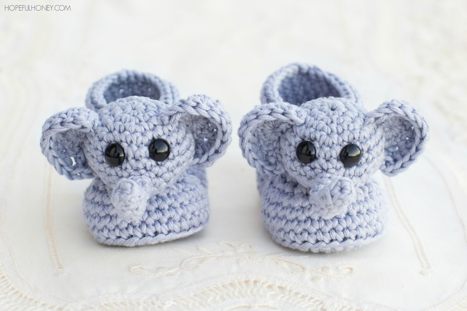 Crochet Baby Booties Written Pattern : Hopeful Honey Craft, Crochet, Create: Ellie The Elephant ...