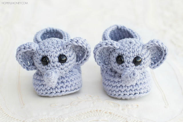 Free Crochet Pattern Baby Lion Booties : Hopeful Honey Craft, Crochet, Create: Ellie The Elephant ...