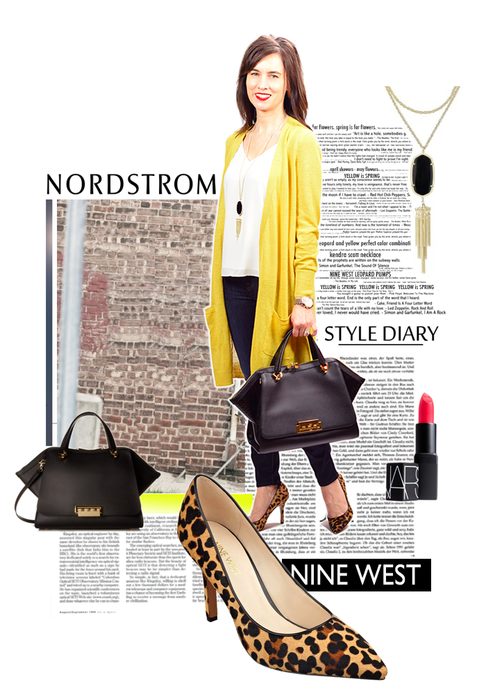 nine west spring 2016 sandals, nordstrom, halogen long cardigan, yellow cardigan