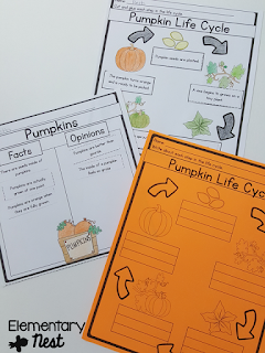 Pumpkin Life Cycle activities- October Activities for a primary classroom- PLUS a freebie!
