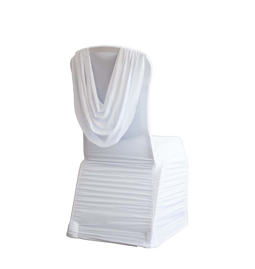 Lara Party Hire Swag Back Spandex Ruched White Chair Cover