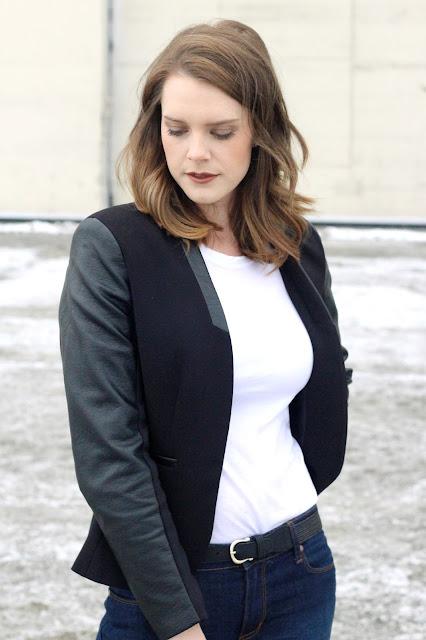 h&m faux leather blazer