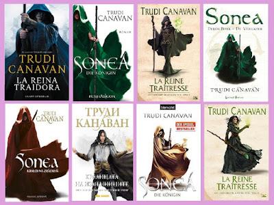 portadas de la novela de fantasía La reina traidora, de Trudi Canavan