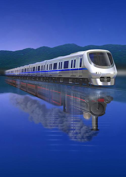 リアルイラスト、3DCG、列車、電車、蒸気機関車、夜行列車、乗物
