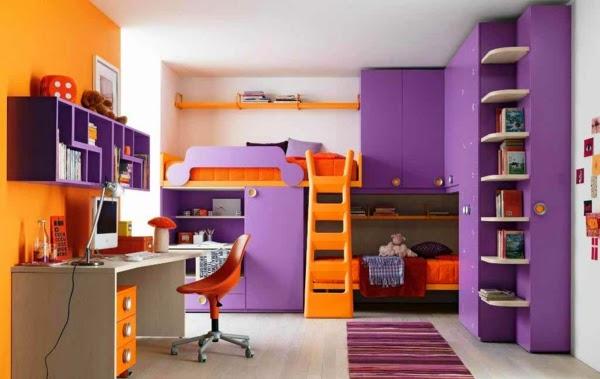 habitación en lila y naranja