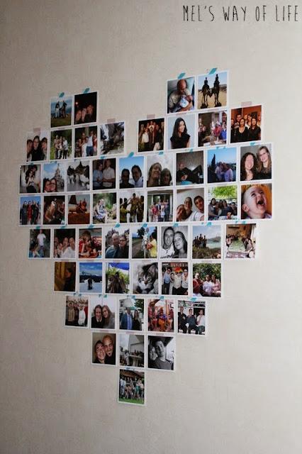 D co un grand coeur de photos carr es sur le mur du for Comment accrocher des photos au mur